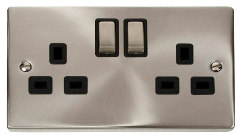 Scolmore VPSC536BK - 2 Gang 13A DP 'Ingot' Switched Socket Outlet - Black