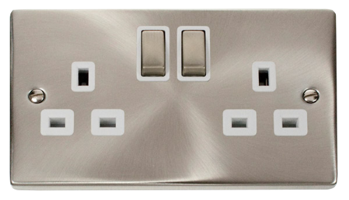 Scolmore VPSC536WH - 2 Gang 13A DP 'Ingot' Switched Socket Outlet - White - Scolmore - Sparks Warehouse