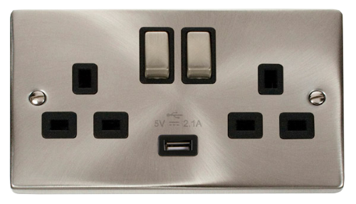 Scolmore VPSC570BK - 13A 2G Ingot Switched Socket With 2.1A USB Outlet (Twin Earth) - Black