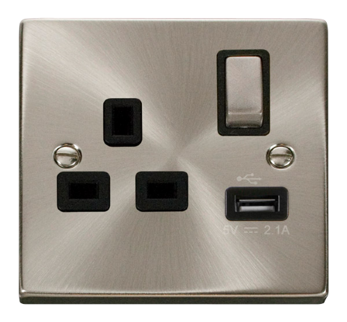 Scolmore VPSC571BK - 13A 1G Ingot Switched Socket With 2.1A USB Outlet - Black