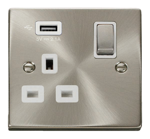 Scolmore VPSC571UWH - 13A 1G Ingot Switched Socket With 2.1A USB Outlet - White