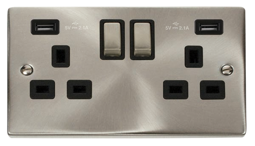 Scolmore VPSC580BK - 13A 2G Ingot Switched Socket With 2 x  2.1A USB Outlet (Twin Earth) - Black
