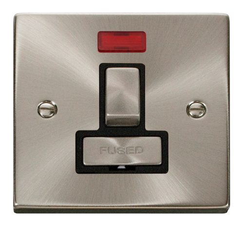 Scolmore VPSC752BK - 13A Fused 'Ingot' Switched Connection Unit With Neon - Black - Scolmore - Sparks Warehouse