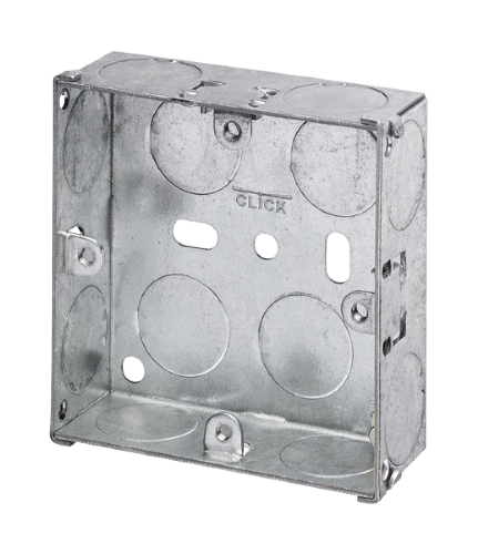 Scolmore WA093 - 1 Gang 25mm Deep Galvanised Steel K.O. Box - Scolmore - Sparks Warehouse