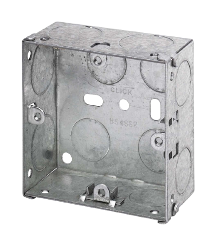 Scolmore WA095 - 1 Gang 35mm Deep Galvanised Steel K.O. Box - Scolmore - Sparks Warehouse