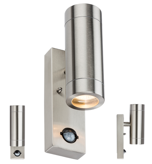 Knightsbridge WALL4LSS 230V IP44 2 X GU10 Stainless Steel UP/Down Wall Light - PIR - Knightsbridge - Sparks Warehouse