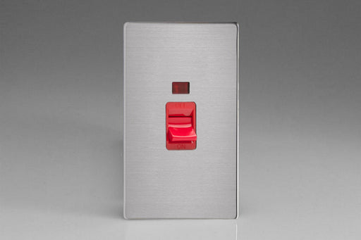 Varilight XDS45NS - 45A Cooker Switch + Neon (Vertical Twin Plate, Red Rocker)