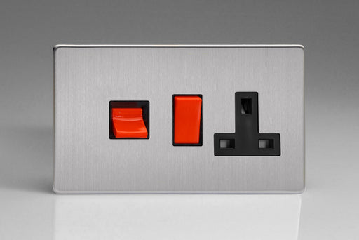 Varilight XDS45PBS - 45A Cooker Panel with 13A Double Pole Switched Socket Outlet (Red Rocker)