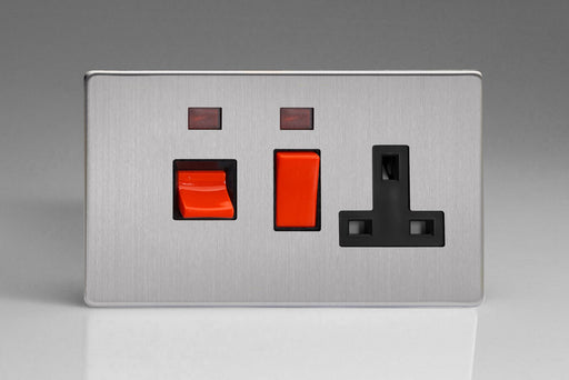 Varilight XDS45PNBS - 45A Cooker Panel + Neon with 13A Double Pole Switched Socket Outlet (Red Rocker)