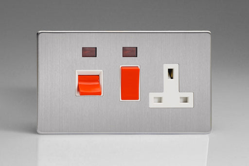Varilight XDS45PNWS - 45A Cooker Panel + Neon with 13A Double Pole Switched Socket Outlet (Red Rocker)