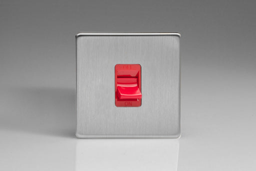 Varilight XDS45SS - 45A Cooker Switch (Single Plate, Red Rocker)