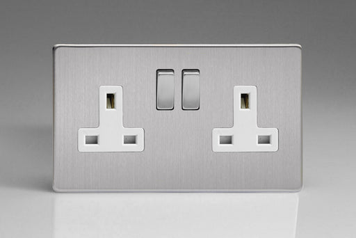 Varilight XDS5WS - 2-Gang 13A Double Pole Switched Socket with Metal Rockers