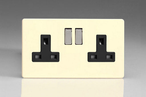 Varilight XDY5BS.PD - 2-Gang 13A Double Pole Switched Socket with Metal Rockers