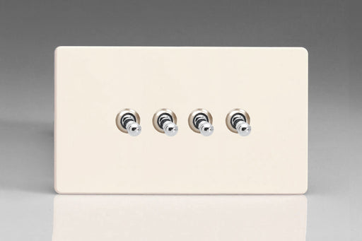 Varilight XDYT9S.PD - 4-Gang 10A 1- or 2-Way Toggle Switch (Twin Plate)