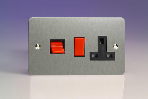 Varilight XFS45PB - 45A Cooker Panel with 13A Double Pole Switched Socket Outlet (Red Rocker)