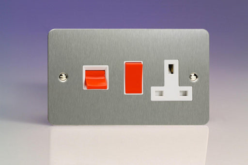 Varilight XFS45PW - 45A Cooker Panel with 13A Double Pole Switched Socket Outlet (Red Rocker)
