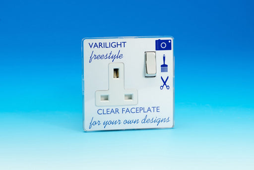 Varilight XIF4CW - 1-Gang 13A Double Pole Switched Socket with Metal Rockers