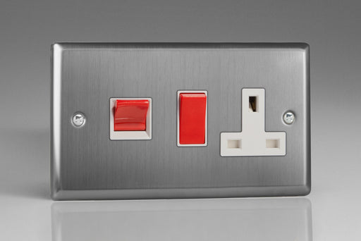 Varilight XT45PW - 45A Cooker Panel with 13A Double Pole Switched Socket Outlet (Red Rocker)