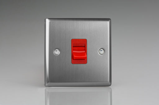 Varilight XT45S - 45A Cooker Switch (Single Plate, Red Rocker)