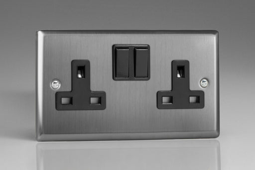 Varilight XT5B - 2-Gang 13A Double Pole Switched Socket