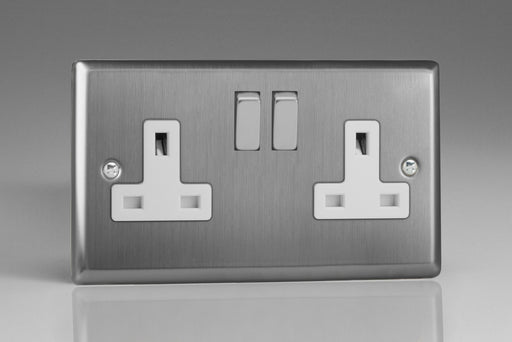 Varilight XT5DW - 2-Gang 13A Double Pole Switched Socket with Metal Rockers