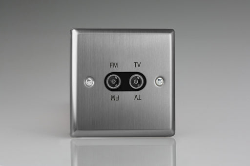 Varilight XTTVFMB - 2-Gang Diplex Socket, TV/FM