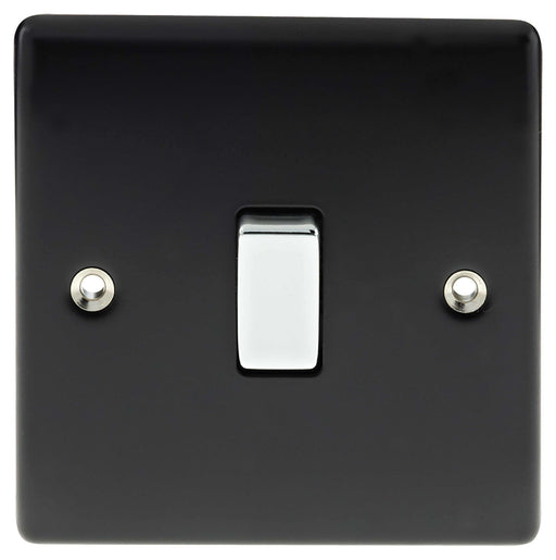 BG Nexus NMB12 Metal Matt Black & Chrome Light Switch Plate 1 Gang 2 Way - BG - Sparks Warehouse
