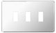 BG Nexus GFPC3 Grid Chrome Screwless 3 Gang Front Plate - BG - sparks-warehouse