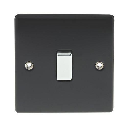 BG Nexus NMB13 Metal Matt Black & Chrome Light Switch 1 Gang Intermediate - BG - Sparks Warehouse