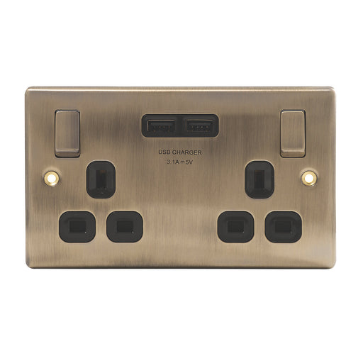 BG Nexus NAB22U3B Metal Antique Brass 2 Gang Switched Socket & Twin USB - BG - Sparks Warehouse