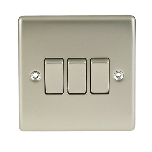 BG Nexus NPR43 Metal Pearl Nickel Light Switch Plate - Triple 3 Gang 2 Way - BG - Sparks Warehouse