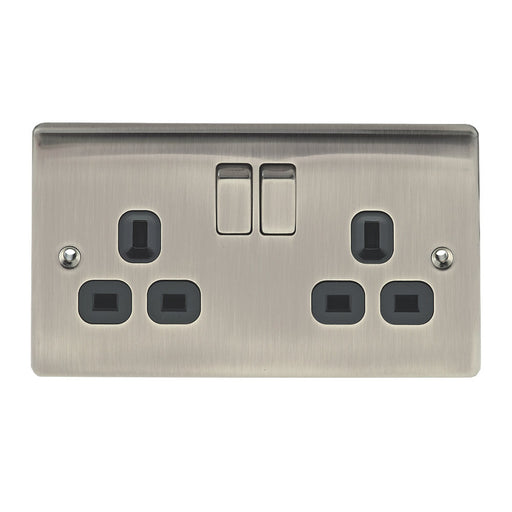 BG Nexus NBI22B Metal Brushed Iridium Double Plug Socket Switched (2 Gang) - BG - Sparks Warehouse