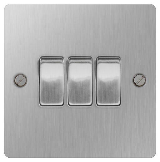 BG SBS43 Brushed Steel 10A Plate Switch  3 Gang 2 Way - BG - sparks-warehouse
