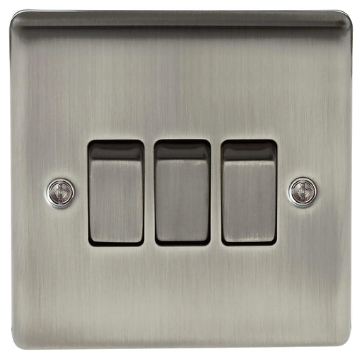BG Nexus NBI43 Metal Brushed Iridium Light Switch Plate - Triple 3 Gang 2 Way - BG - Sparks Warehouse