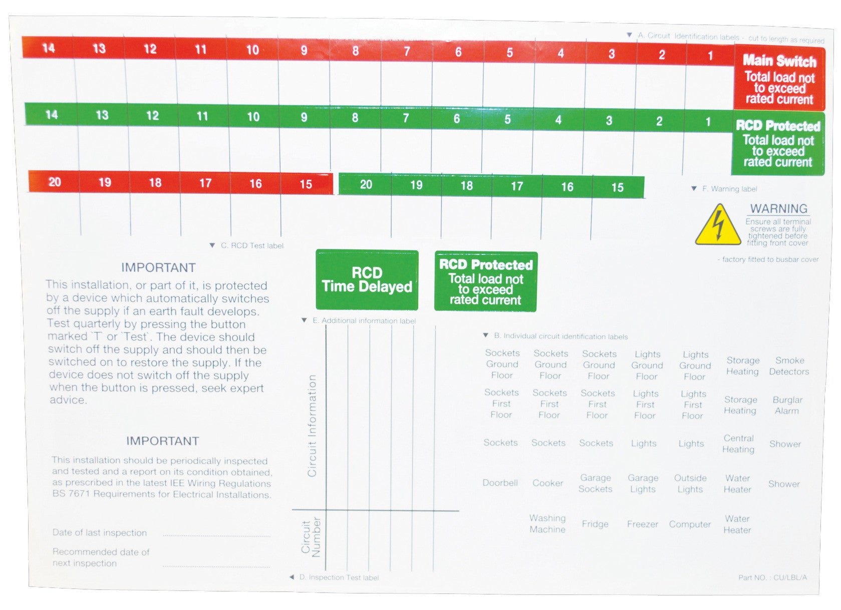 BG CUA11 SPARE LABEL SHEETS (PACK 5)