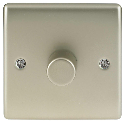 BG Nexus NPR81P Metal Pearl Nickel Single 1 Gang 2W 400W Dimmer Light Switch - BG - Sparks Warehouse