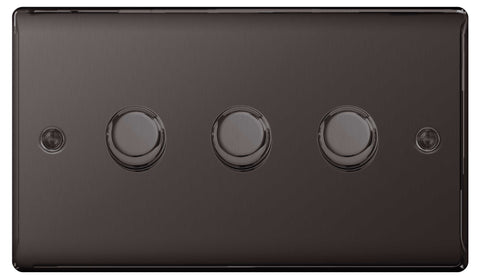 BG Nexus NBN83P Black Nickel 400W 3 Gang 2 Way Push Dimmer