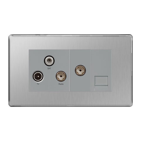 BG FBS68 Screwless Flat Plate Brushed Steel Triplex TV/FM/SAT & 1G Phone Socket