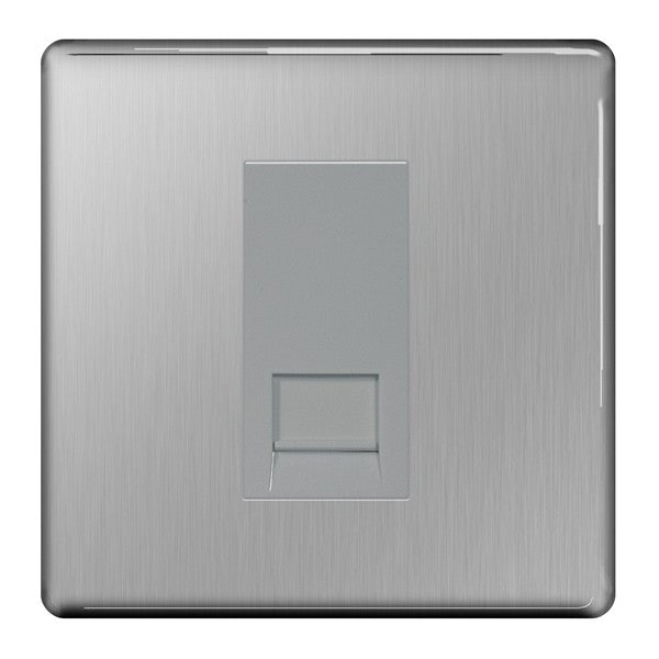 BG FBSRJ111 Screwless Flat Plate Brushed Steel RJ11 1G Telephone Socket - BG - sparks-warehouse