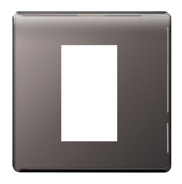 BG Nexus FBNEMS1 Screwless Flat Plate Black Nickel 1 Module Front Plate (25x50mm) - BG - sparks-warehouse