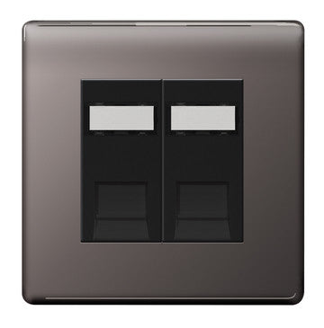 BG Nexus FBNRJ452 Screwless Flat Plate Black Nickel 2G Data Socket With IDC Window - BG - sparks-warehouse