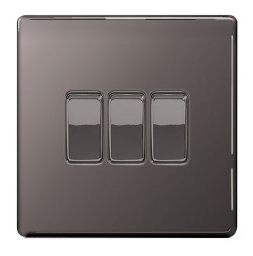 BG Nexus FBN43 Screwless Flat Plate Black Nickel 10A 3G 2 Way Plate Switch - BG - sparks-warehouse