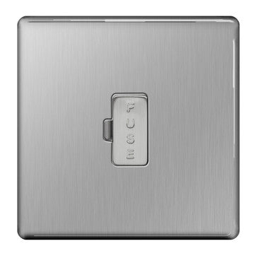 BG FBS54 Screwless Flat Plate Brushed Steel 13A Unswitched Fused Connection Unit Flex Outlet