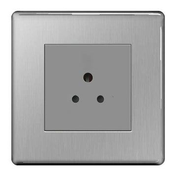 BG FBS28G Screwless Flat Plate Brushed Steel 1G 2A Unswitched Round pin Socket- Grey Insert