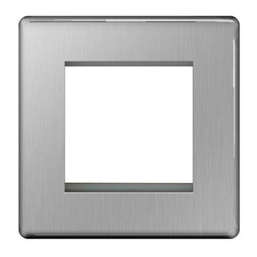 BG FBSEMS2 Screwless Flat Plate Brushed Steel 2 Module  Front Plate (50 x 50mm)