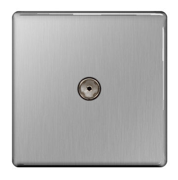 BG FBS60 Screwless Flat Plate Brushed Steel 1 Gang CO-AXIAL Socket