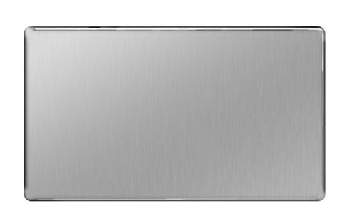 BG FBS95 Screwless Flat Plate Brushed Steel 1 Gang Blank Plate