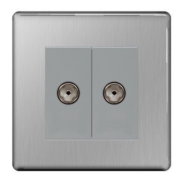 BG FBS61 Screwless Flat Plate Brushed Steel 2 Gang Co-Axial Socket