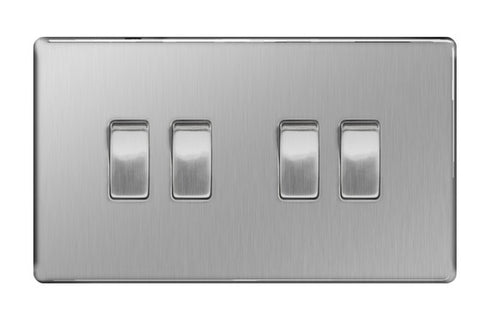 BG FBS44 Screwless Flat Plate Brushed Steel 10A 4 Gang 2 Way Plate Switch