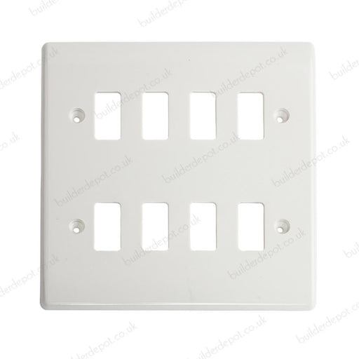 BG Nexus G88 Grid White Moulded 8 Gang Front Plate